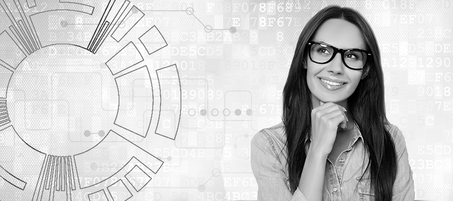 Woman reviewing plan data