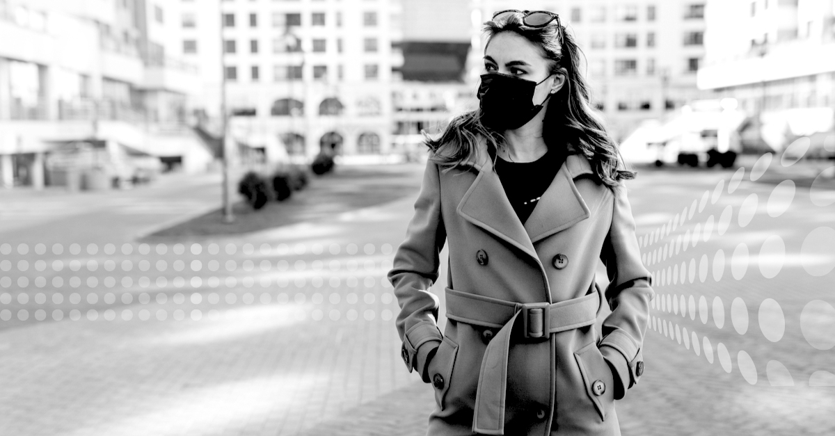 Woman on the street with face mask