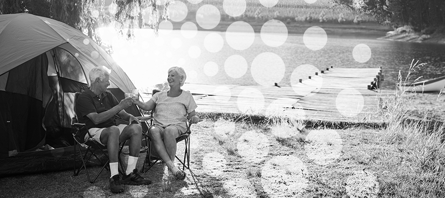 Couple camping during retirement