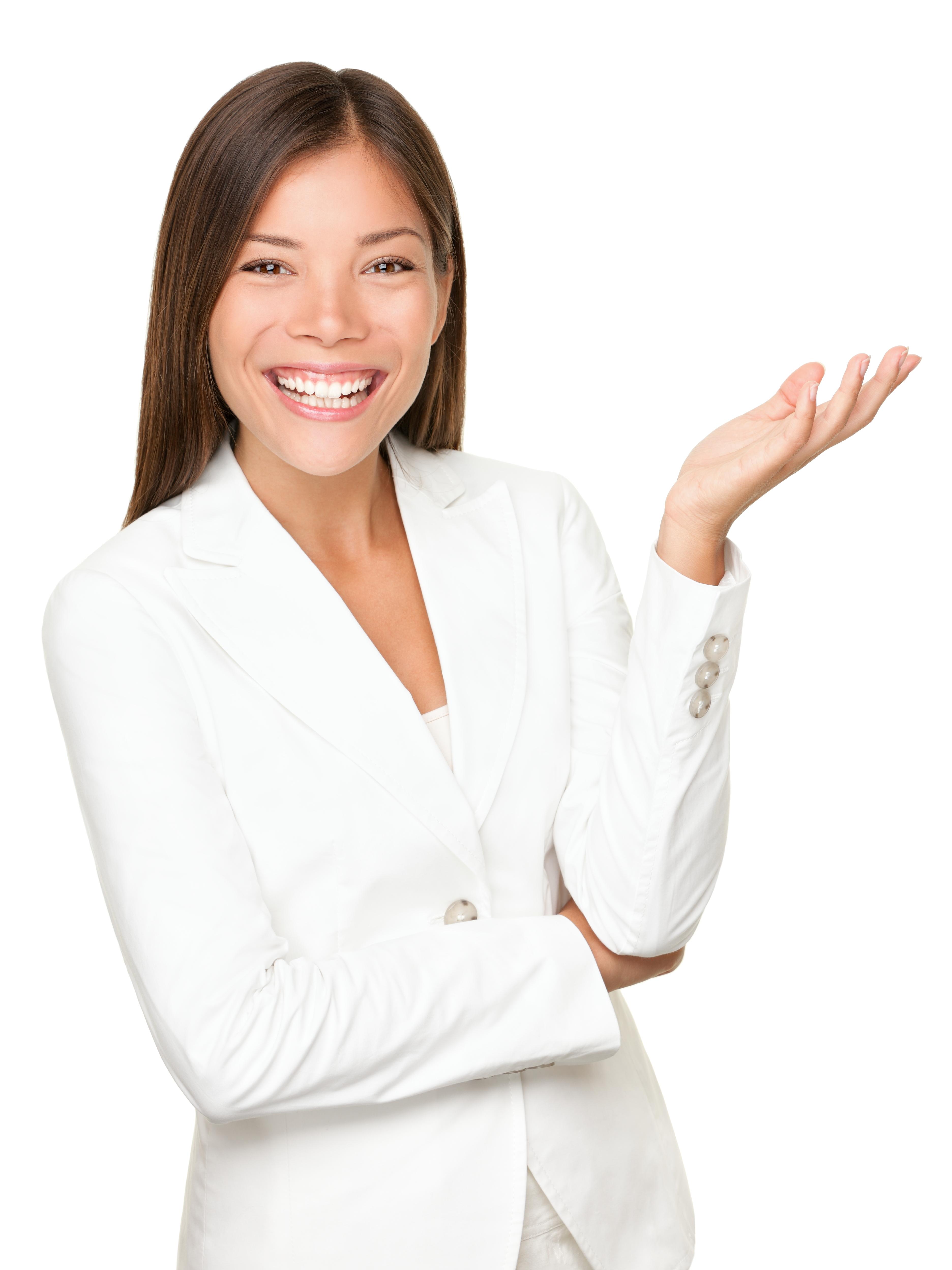 Woman presenting website updates